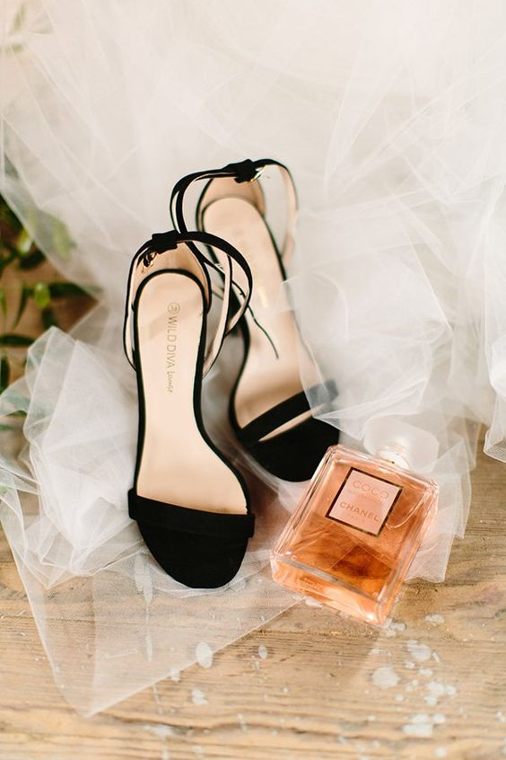 elegant black velvet heeled sandals are a timeless idea for any kind of wedding