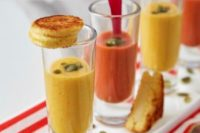 05 tomato bisque shooters with pistachios, grilled cheese and touches of radish