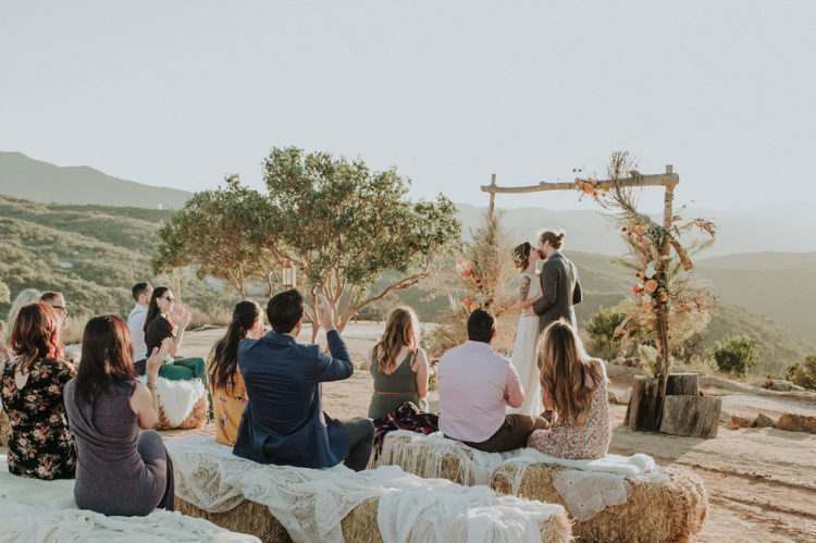 A romantic sunset ceremony at a boho camp - what can be better for a free-spirited couple
