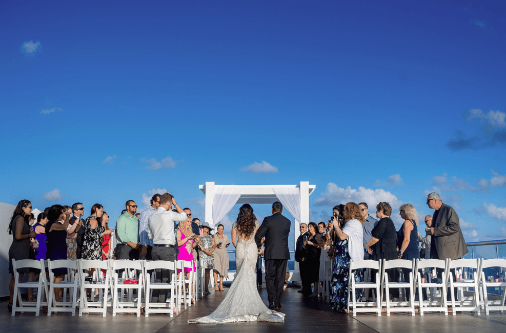 The ceremony and reception later took place on the sky deck as aviation is the passion of the couple