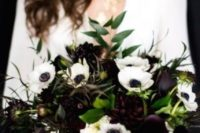 06 a chic wedding bouquet with white anemones and dark purple callas and dahlias plus greenery