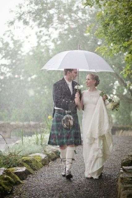 a white umbrella is also fine, it's rather neutral and chic for any wedding