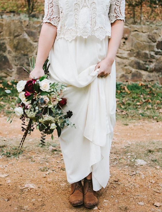 brown boots are a great complement to a boho bridal look and are comfy for outdoors