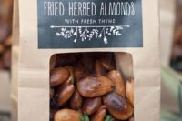 06 coffee paper bags with chalkboard labels and fried almonds for any rustic wedding, not only a fall one
