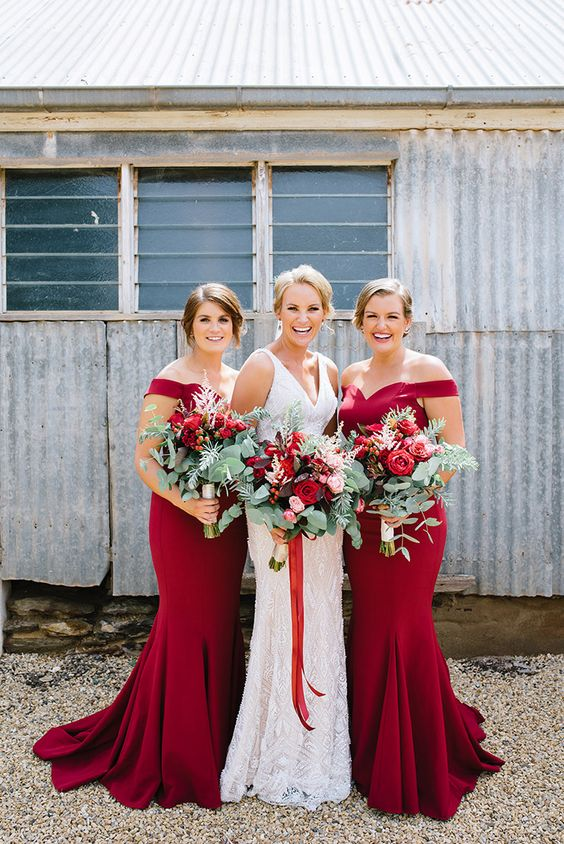 ruby red off the shoulder bridesmaid dresses for an elegant vintage wedding