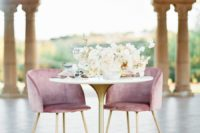 07 There was a sweetheart table done with a gold leg and dusty pink chairs with gold legs
