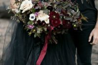 07 a chic wedding bouquet with dark foliage, deep red and blush blooms plus burgundy ribbons