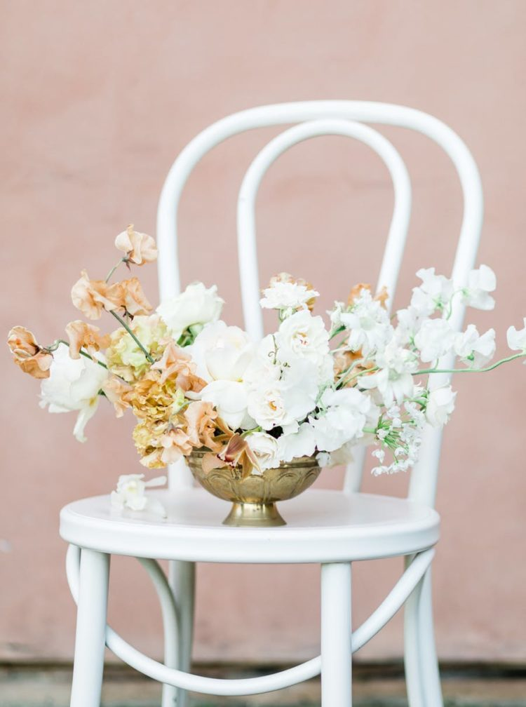 The florals were very lush and textural, with white and rust-colored blooms