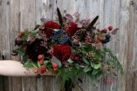 08 a chic Halloween bouquet with dark burgundy and red blooms and lots of berries