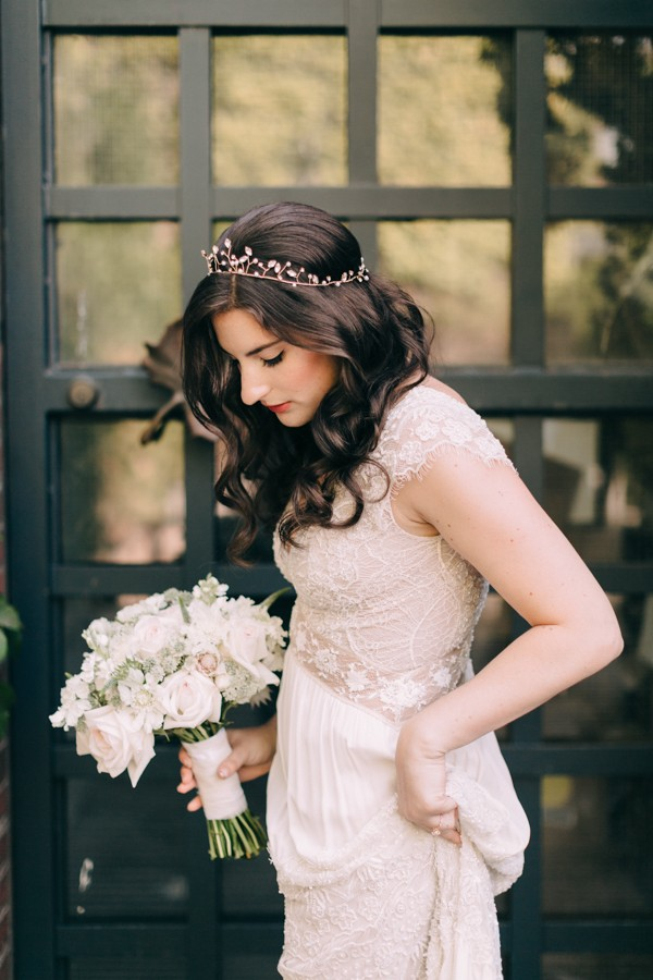 a delicate bridal look with a blush dress and a cute rose gold tiara with rhinestones