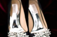 08 black heavily embellished wedding shoes for a glam fall or winter wedding or to add glam to your Halloween look