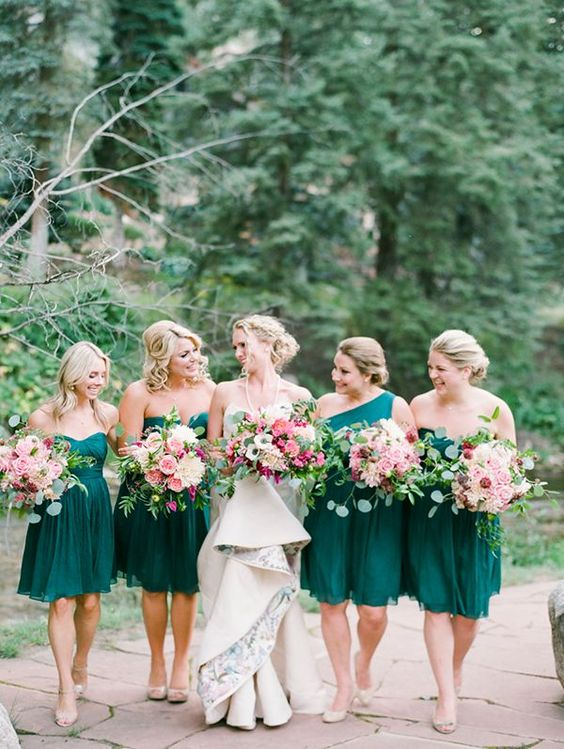 emerald bridesmaid's dresses