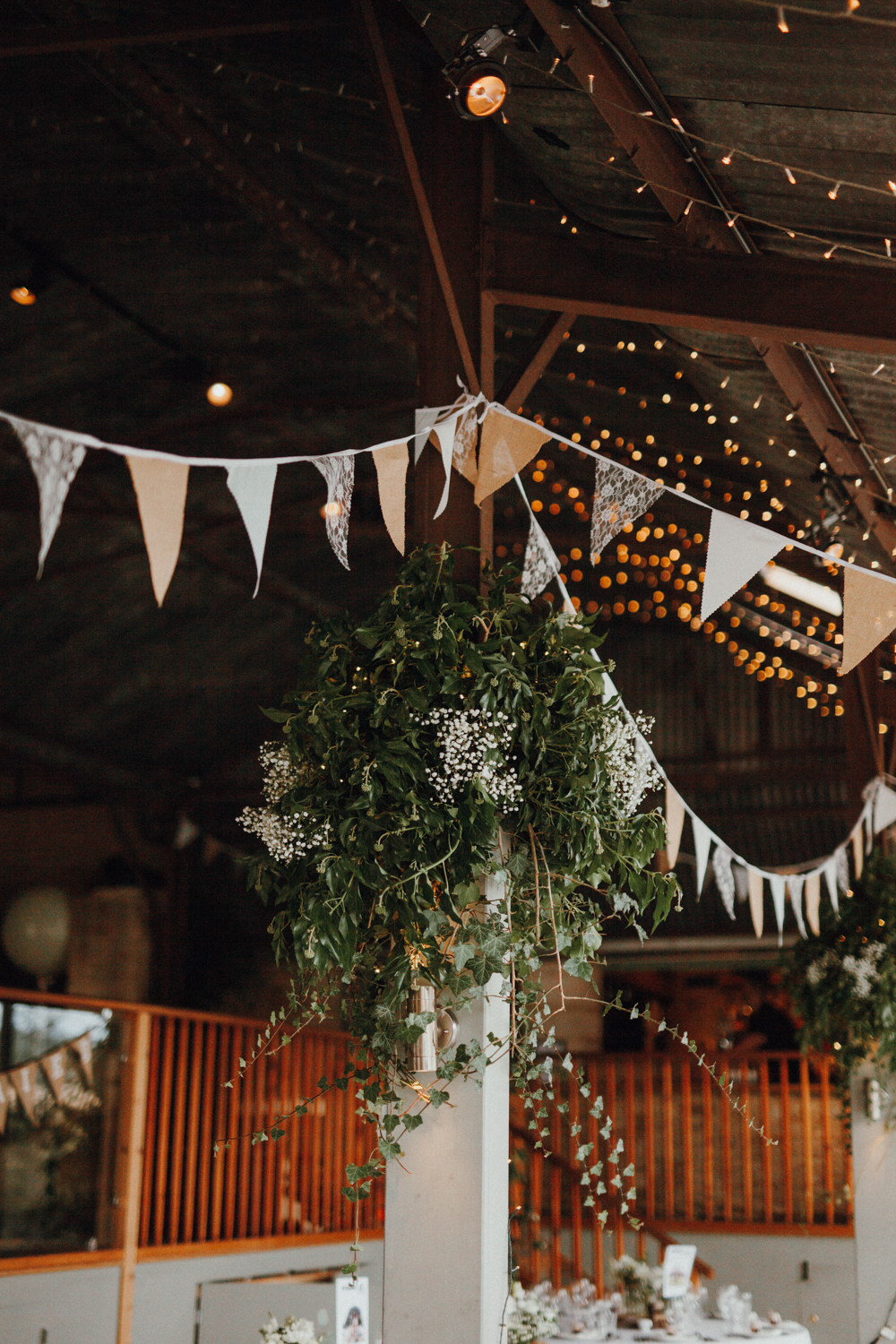 Buntings everywhere were an indispensable decor element as this was a festival inspired wedding