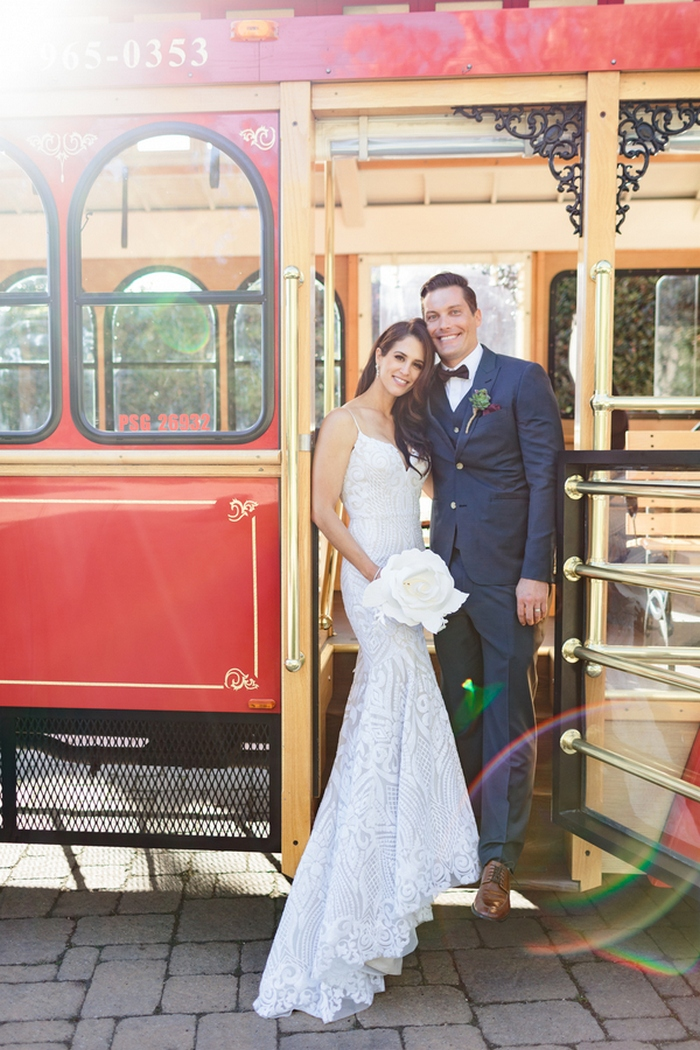 Everyone took a tram to the reception space