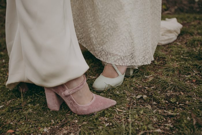 The bridal shoes were mint and pink ones for a touch of color
