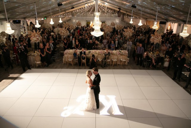The tents were done with elegant crystal chandeliers and a cool dance floor
