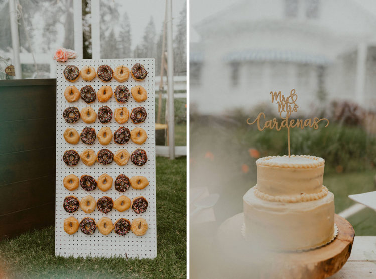 The wedding cake was a naked one, and there was a trendy donut wall