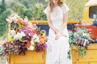 09 a boho lace wedding dress, leopard print shoes, an elegant vintage-inspired hat