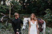 09 a modern plain slip wedding dress is a great idea for an effortlessly chic summer bridal look
