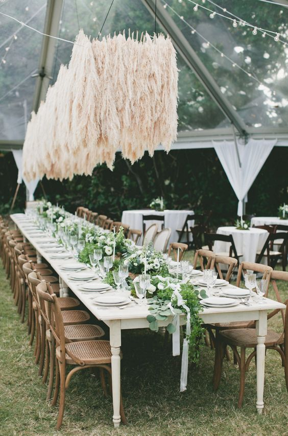 a pampas grass overhead wedding decoration looks very spectacular and outstanding