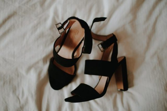 black velvet wedding shoes with wide straps for a chic statement at your wedding
