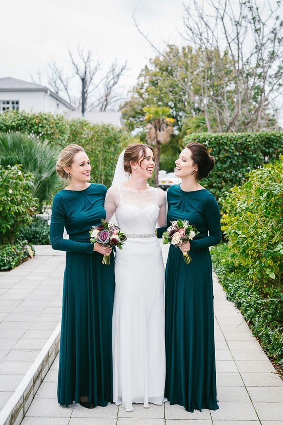chic emerald draped bridesmaids' dresses with long sleeves for a modest look