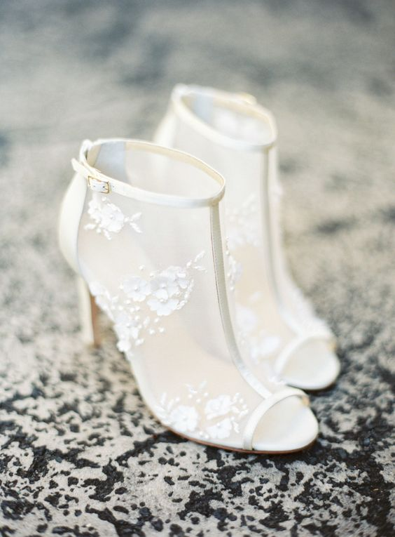refined sheer wedding booties with 3D floral lace appliques and a peep toe