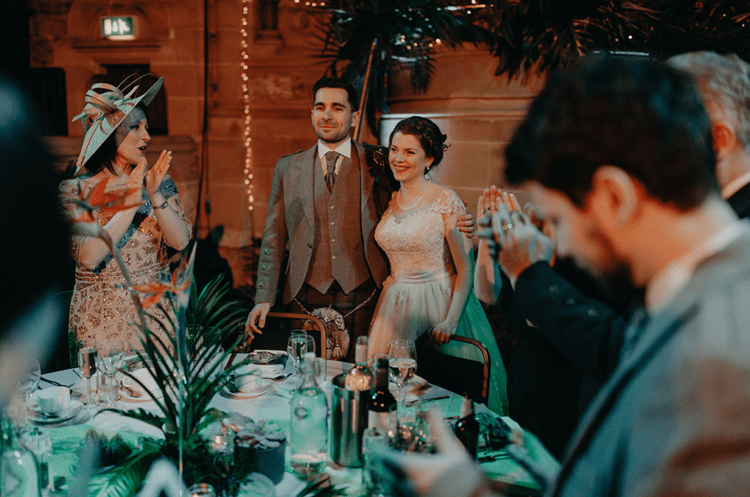 Everyone had a lot of fun at this tropical-inspired wedding with a vintage feel