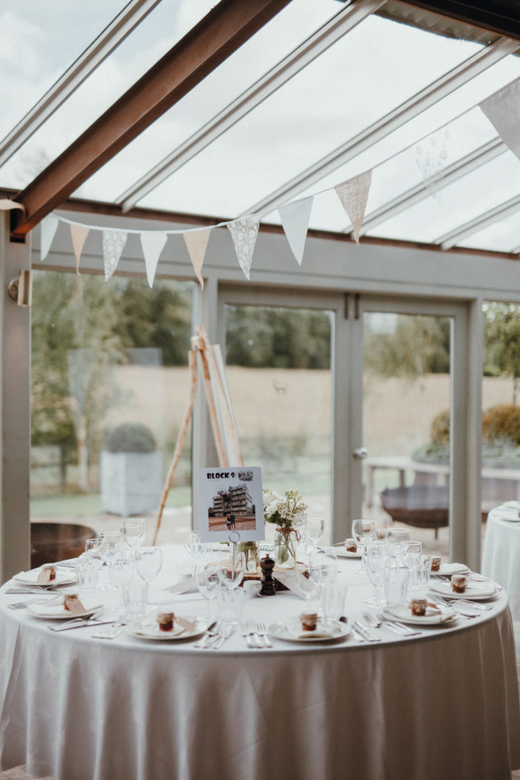 The venue felt very inviting and light-filled, the tables were decorated with couple's pics