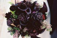 10 a dark purple bouquet with artichokes, callas, seeded euclayptus and fiddleheads