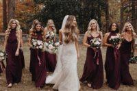 10 merlot-colored halter  neckline and spaghetti strap maxi dresses are a timeless idea for the fall