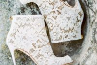 10 white lace booties with high heels willmake your bridal look refined in any season