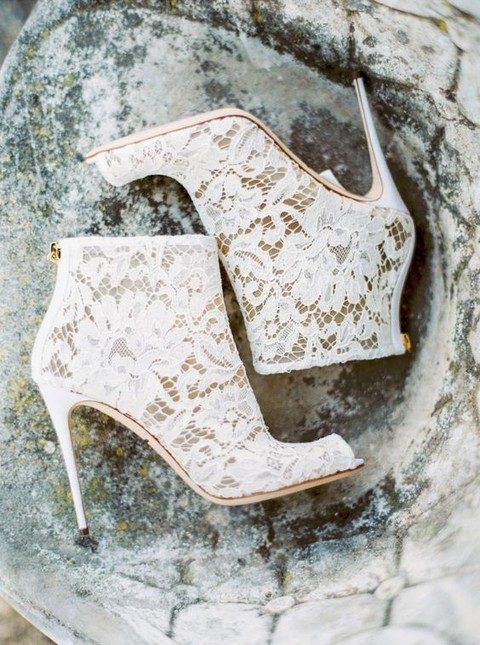 white lace booties with high heels willmake your bridal look refined in any season