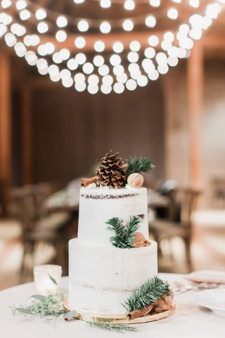 The wedding cake was a demi naked one topped with a pinecone, cinnamons and fir branches