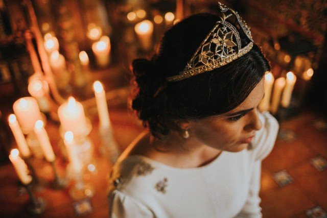 a gorgeous gold and rhinestone wedding tiara will give your look a royal feel