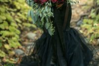 11 a red and black wedding bouquet is classics for Halloween and it's spruced up with eucalyptus