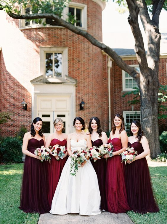 burgundy and ruby red strapless maxi dresses for a truly fall feel at your wedding