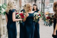 833167e6a064 25 Jewel Tone Bridesmaids' Dresses To Make A Statement · mismatching merlot  colored midi dresses with different necklines and slits for a wow look