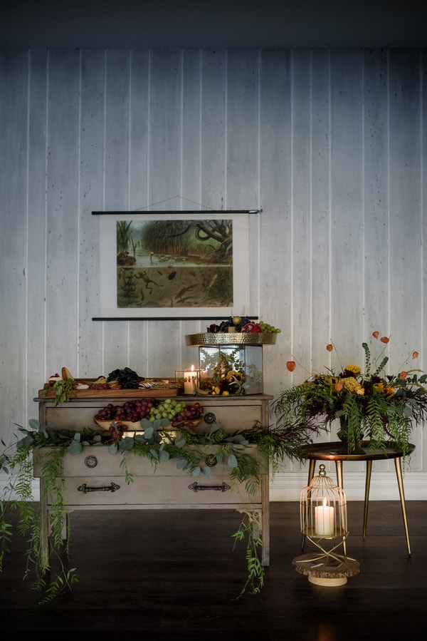 Greenery garlands and gilded touches were used throughout the shoot to make it wow