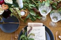 12 a fall bridal shower tablescape with matte grey plates, greenery and lush blooms and gold touches