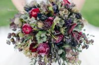 12 a moody wedding bouquet with purple, burgundy blooms and dark foliage