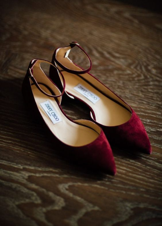 chic maroon suede flats with ankle straps to add a colorful touch to your look