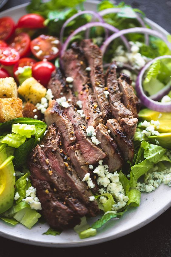 grilled steak salad with blue cheese is a fresh yet rather hearty meal for a wedding