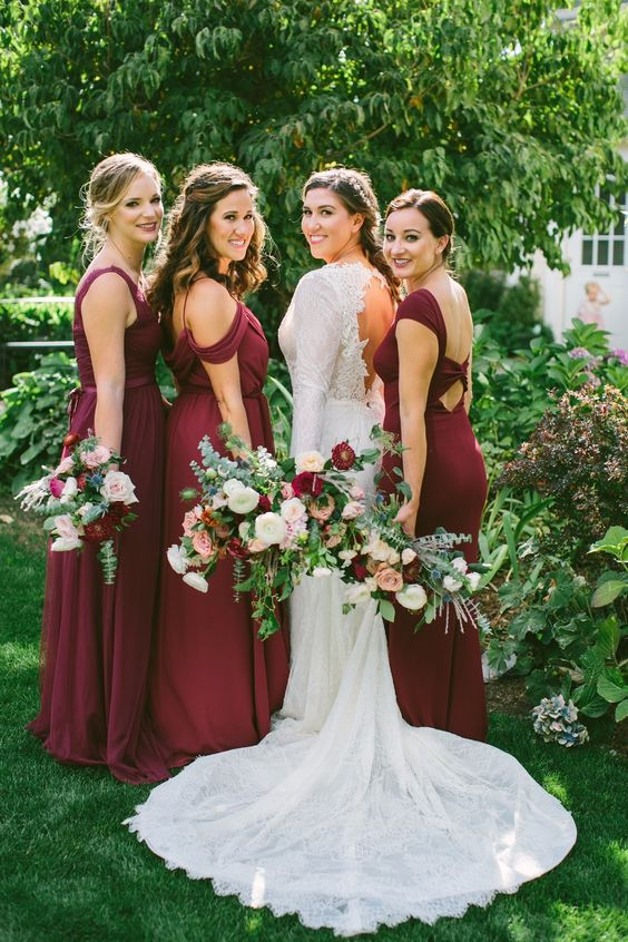 mismatching burgundy bridesmaids' dresses are a timeless solution for every bridal party