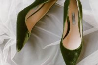 13 green velvet shoes are an interesting colored touch to your bridal attire