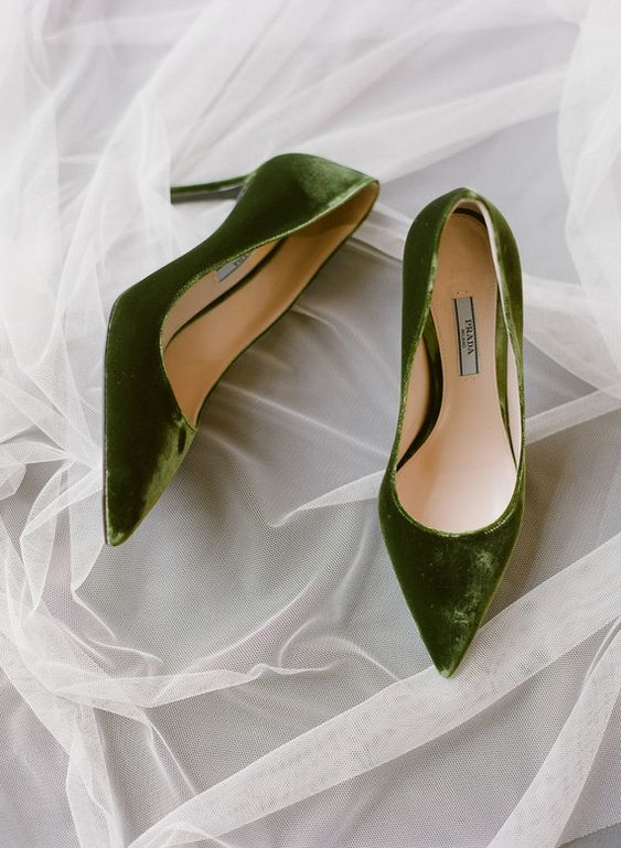 green velvet shoes are an interesting colored touch to your bridal attire