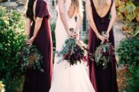 13 mismatching burgundy maxi dresses with cutout backs are a refined solution for a fall wedding