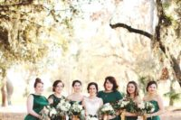 14 emerald dresses of different lengths and designs will spruce up your fall wedding colors
