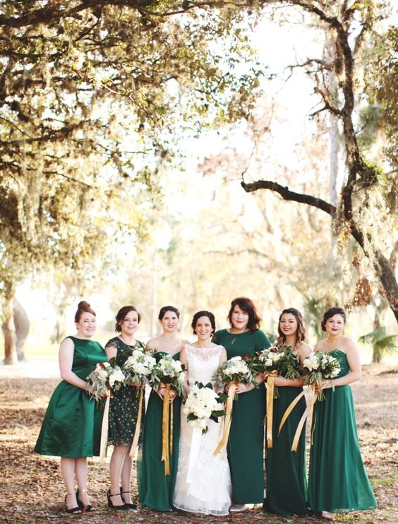 emerald dresses of different lengths and designs will spruce up your fall wedding colors