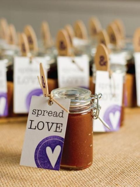 tiny jars of homemade apple butter with a special message make a unique and sweet gift